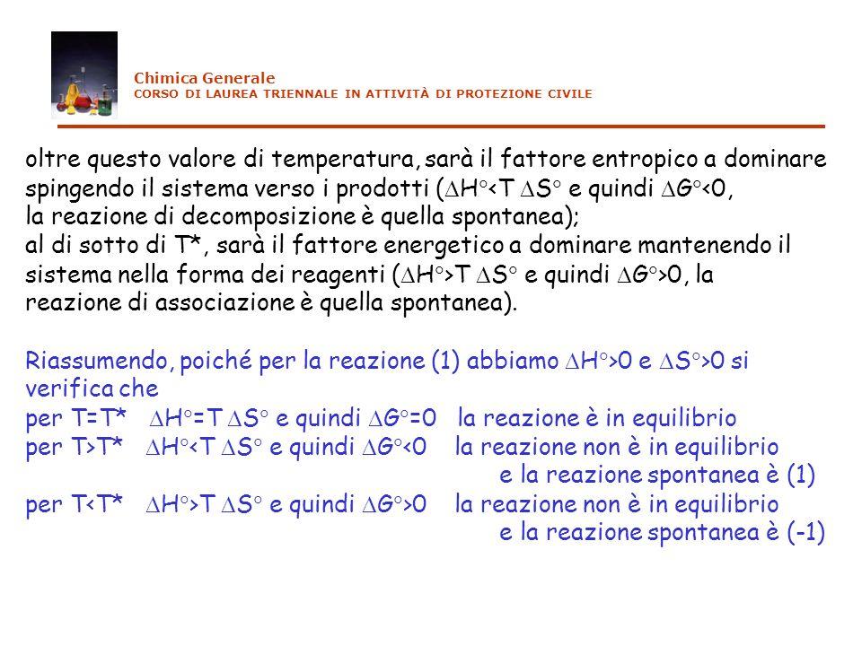 oltre questo valore di temperatura, sarà il fattore entropico a dominare spingendo il sistema verso i prodotti ( H <T S e quindi G <0, la reazione di