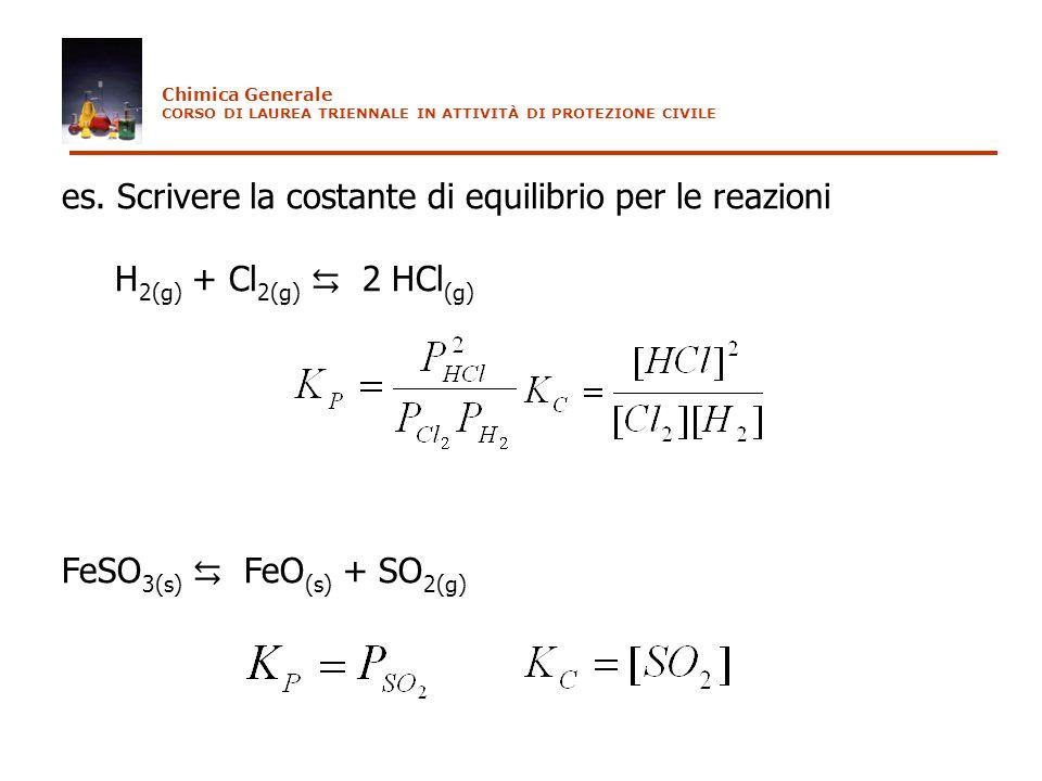es. Scrivere la costante di equilibrio per le reazioni H 2(g) + Cl 2(g) 2 HCl (g) FeSO 3(s) FeO (s) + SO 2(g) Chimica Generale CORSO DI LAUREA TRIENNA