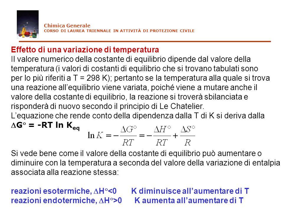 Effetto di una variazione di temperatura Il valore numerico della costante di equilibrio dipende dal valore della temperatura (i valori di costanti di
