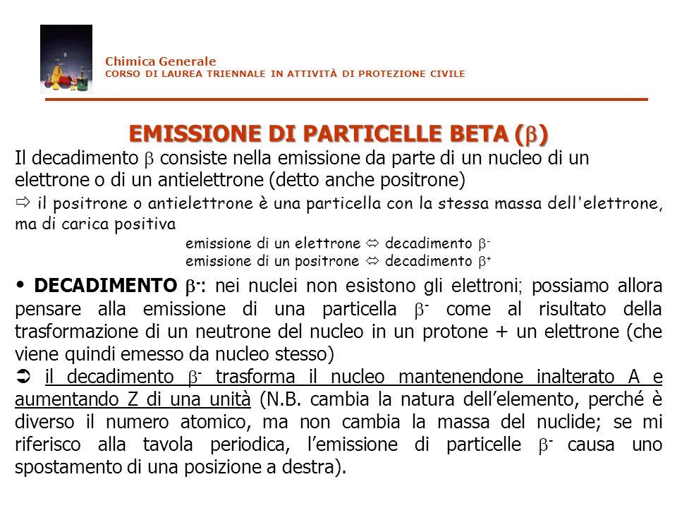 EMISSIONE DI PARTICELLE BETA ( ) Il decadimento consiste nella emissione da parte di un nucleo di un elettrone o di un antielettrone (detto anche posi