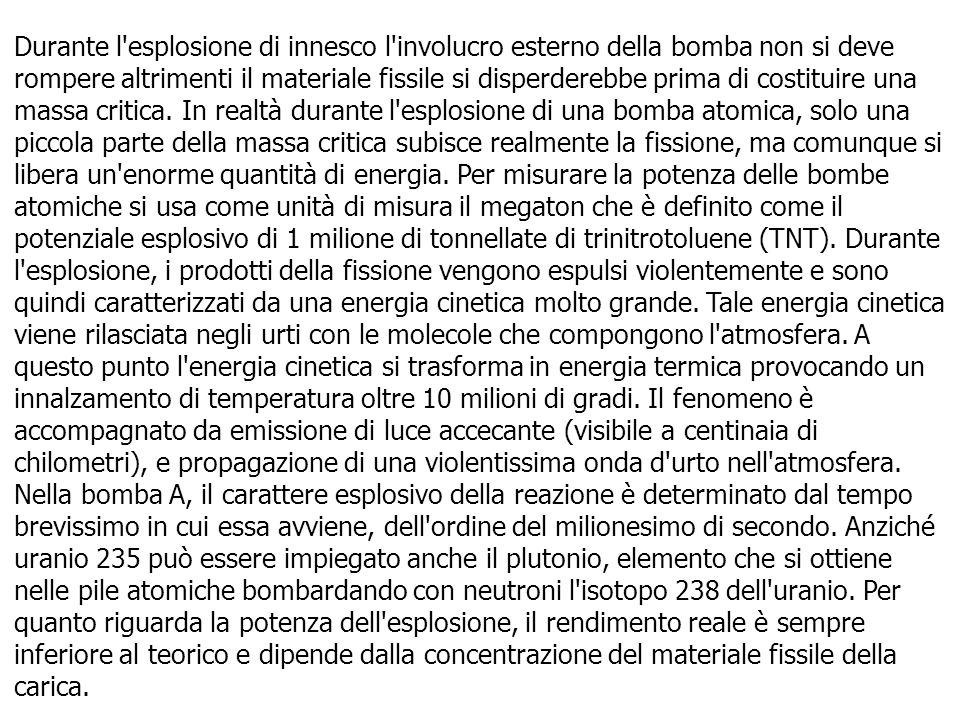 Durante l'esplosione di innesco l'involucro esterno della bomba non si deve rompere altrimenti il materiale fissile si disperderebbe prima di costitui