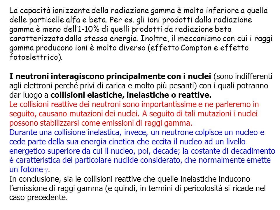 La capacità ionizzante della radiazione gamma è molto inferiore a quella delle particelle alfa e beta. Per es. gli ioni prodotti dalla radiazione gamm