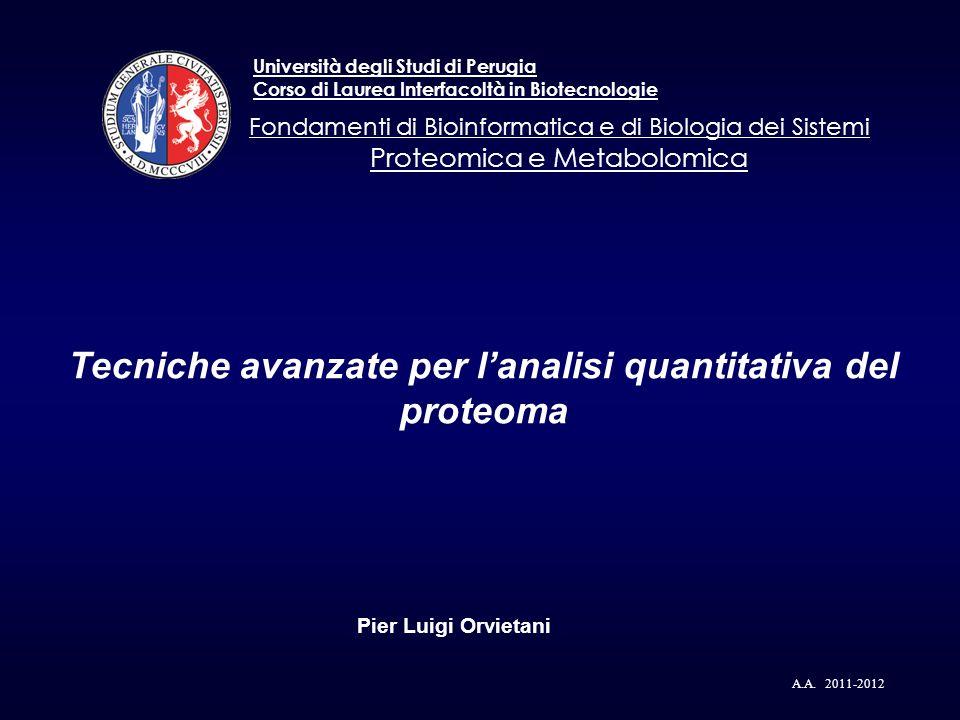 Tecniche avanzate per lanalisi quantitativa del proteoma Pier Luigi Orvietani A.A. 2011-2012 Università degli Studi di Perugia Corso di Laurea Interfa