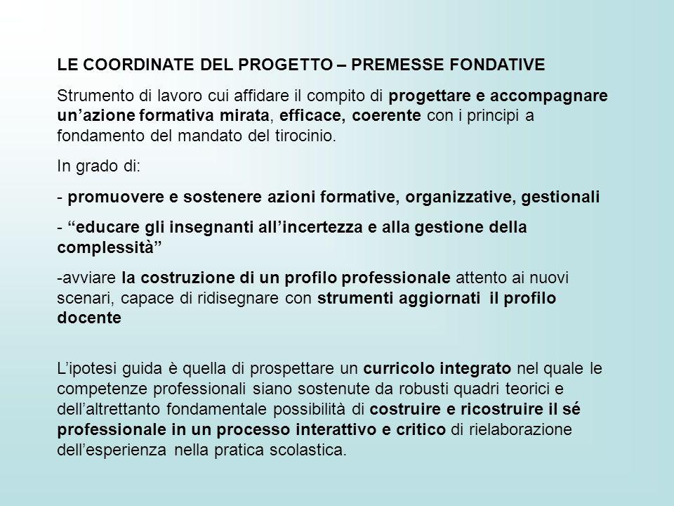 LE COORDINATE DEL PROGETTO – PREMESSE FONDATIVE Strumento di lavoro cui affidare il compito di progettare e accompagnare unazione formativa mirata, ef