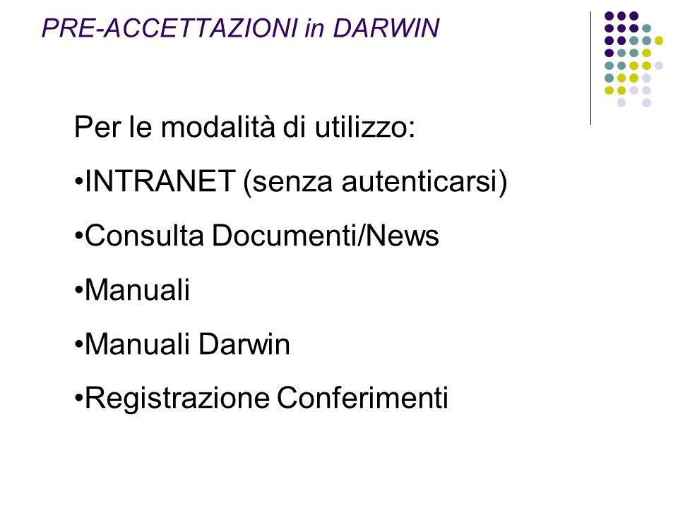 Per le modalità di utilizzo: INTRANET (senza autenticarsi) Consulta Documenti/News Manuali Manuali Darwin Registrazione Conferimenti