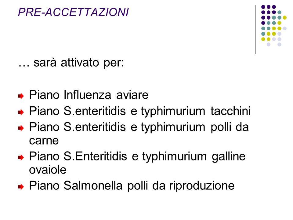 … sarà attivato per: Piano Influenza aviare Piano S.enteritidis e typhimurium tacchini Piano S.enteritidis e typhimurium polli da carne Piano S.Enteri