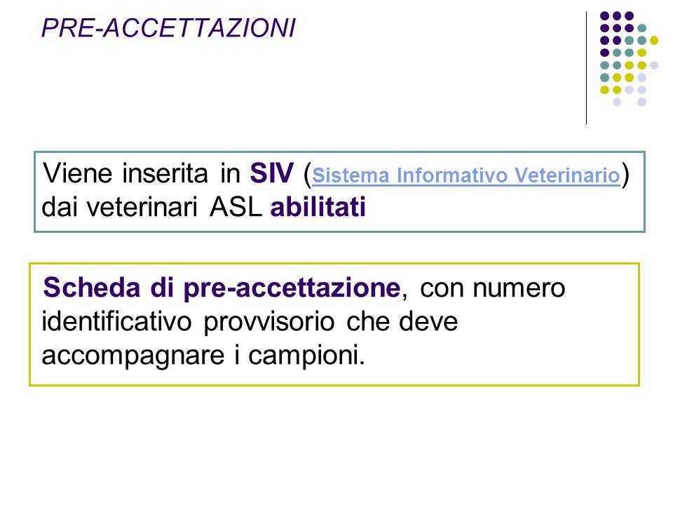 Viene inserita in SIV ( Sistema Informativo Veterinario ) dai veterinari ASL abilitati Sistema Informativo Veterinario Scheda di pre-accettazione, con