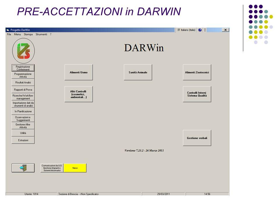 PRE-ACCETTAZIONI in DARWIN