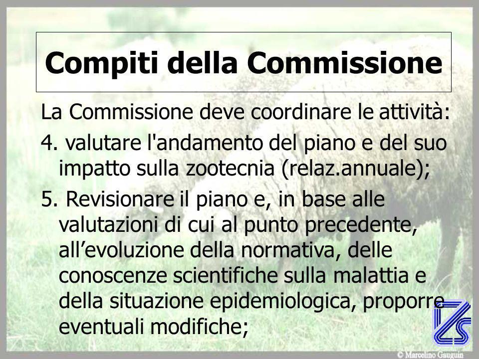 Compiti della Commissione La Commissione deve coordinare le attività: 4.