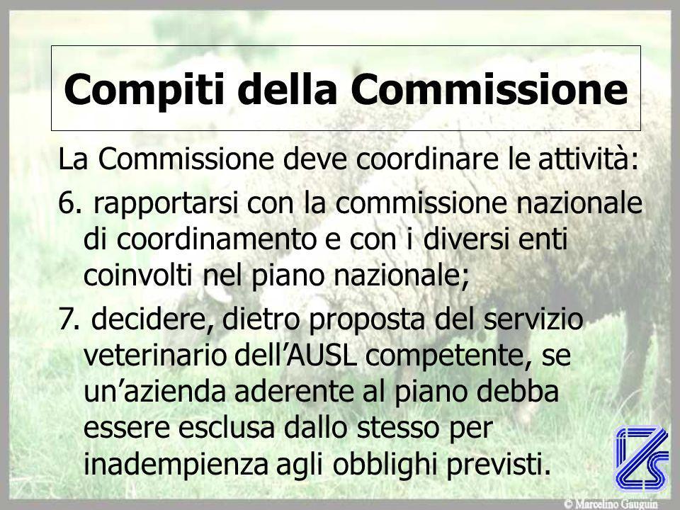 Compiti della Commissione La Commissione deve coordinare le attività: 6.