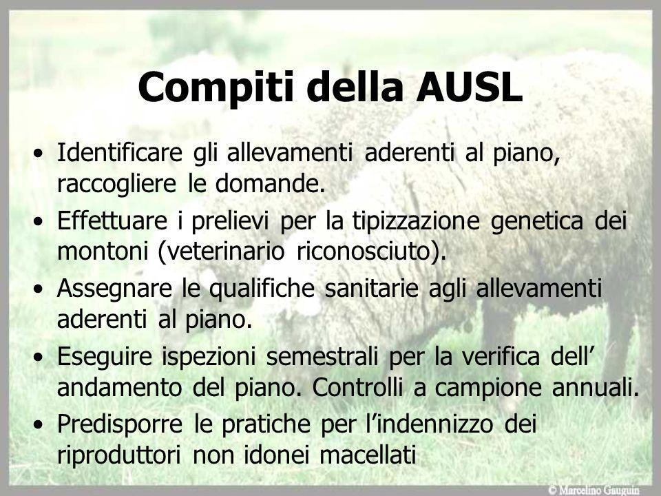Compiti della AUSL Identificare gli allevamenti aderenti al piano, raccogliere le domande.