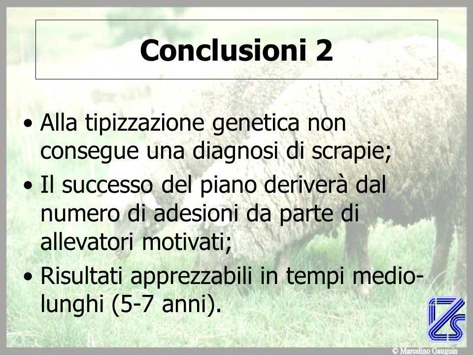Conclusioni 2 Alla tipizzazione genetica non consegue una diagnosi di scrapie; Il successo del piano deriverà dal numero di adesioni da parte di allevatori motivati; Risultati apprezzabili in tempi medio- lunghi (5-7 anni).