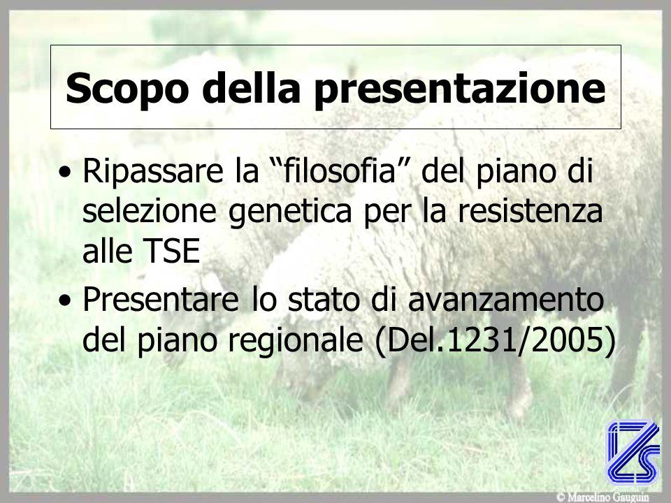 Scopo della presentazione Ripassare la filosofia del piano di selezione genetica per la resistenza alle TSE Presentare lo stato di avanzamento del pia