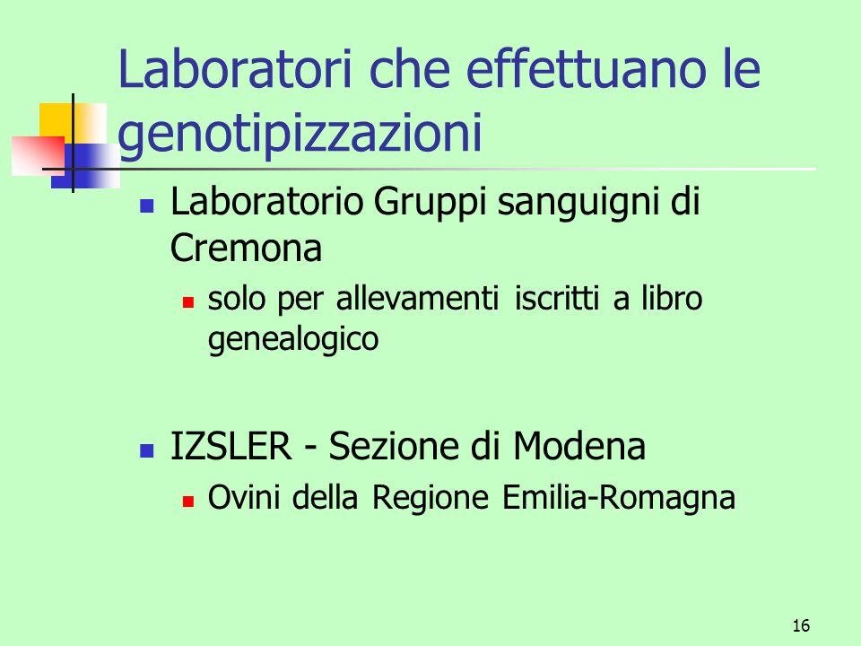16 Laboratori che effettuano le genotipizzazioni Laboratorio Gruppi sanguigni di Cremona solo per allevamenti iscritti a libro genealogico IZSLER - Se