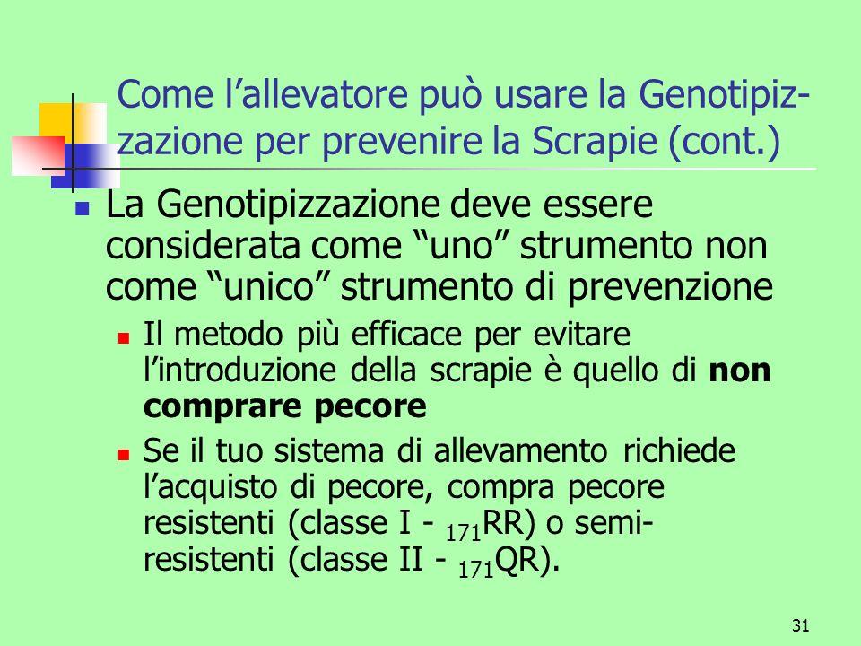 31 Come lallevatore può usare la Genotipiz- zazione per prevenire la Scrapie (cont.) La Genotipizzazione deve essere considerata come uno strumento no