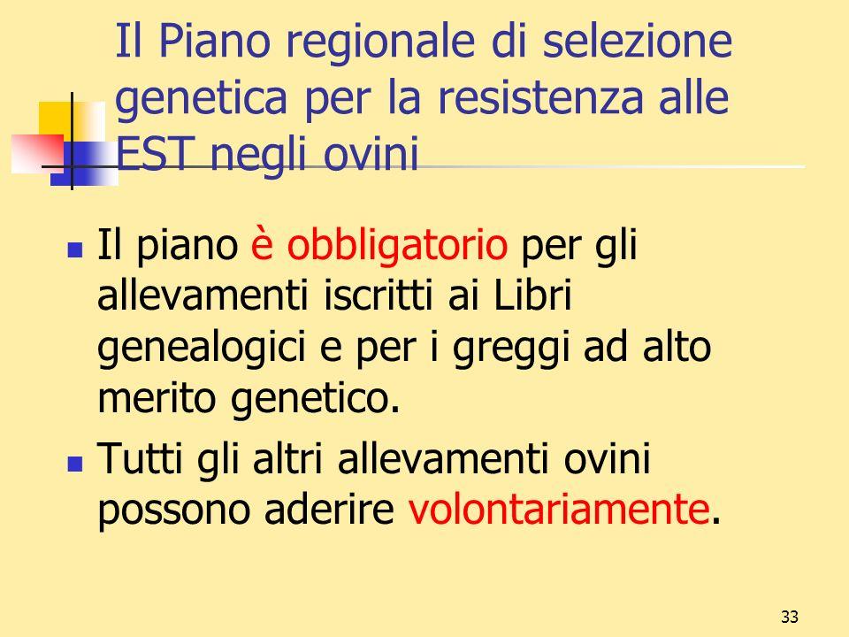 33 Il Piano regionale di selezione genetica per la resistenza alle EST negli ovini Il piano è obbligatorio per gli allevamenti iscritti ai Libri genea