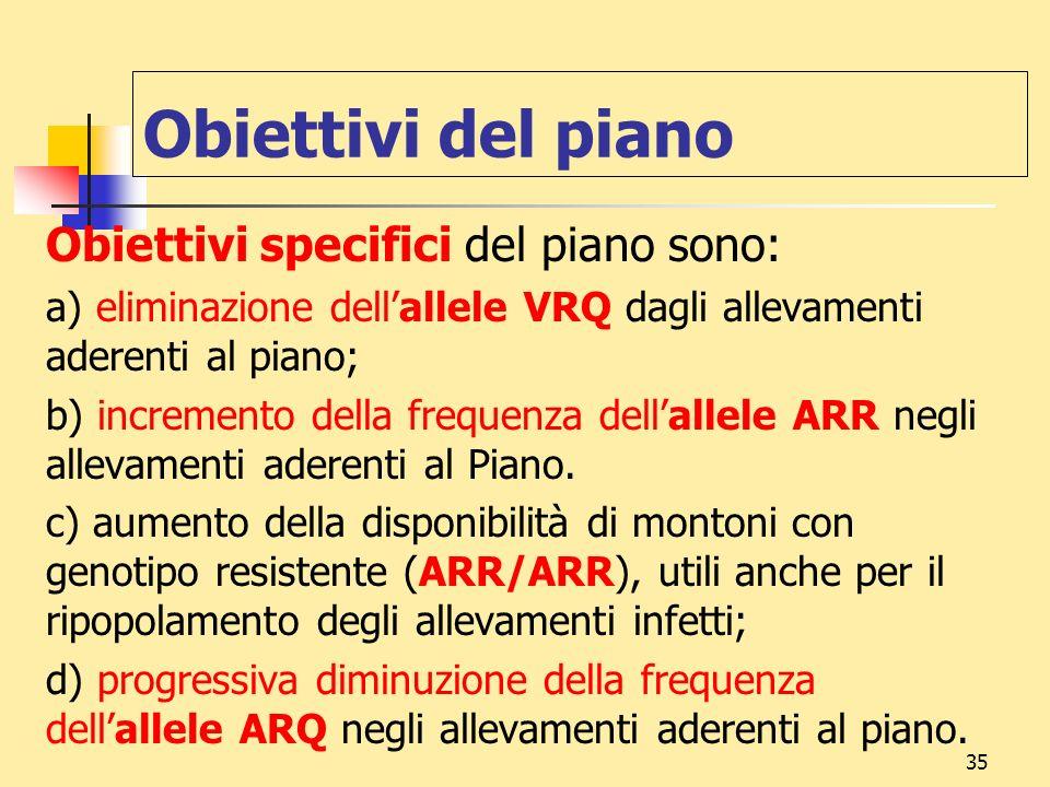 35 Obiettivi del piano Obiettivi specifici del piano sono: a) eliminazione dellallele VRQ dagli allevamenti aderenti al piano; b) incremento della fre