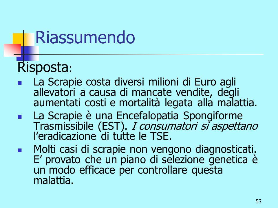 54 Riassumendo Domanda: Qual è la cosa più importante che dobbiamo conoscere sulla genetica della scrapie.