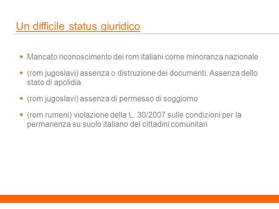 15 Un difficile status giuridico Mancato riconoscimento dei rom italiani come minoranza nazionale (rom jugoslavi) assenza o distruzione dei documenti.