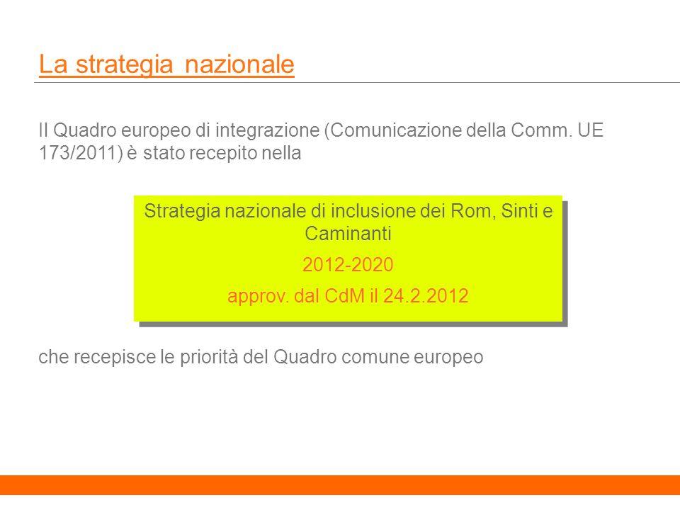 5 La strategia nazionale Il Quadro europeo di integrazione (Comunicazione della Comm.