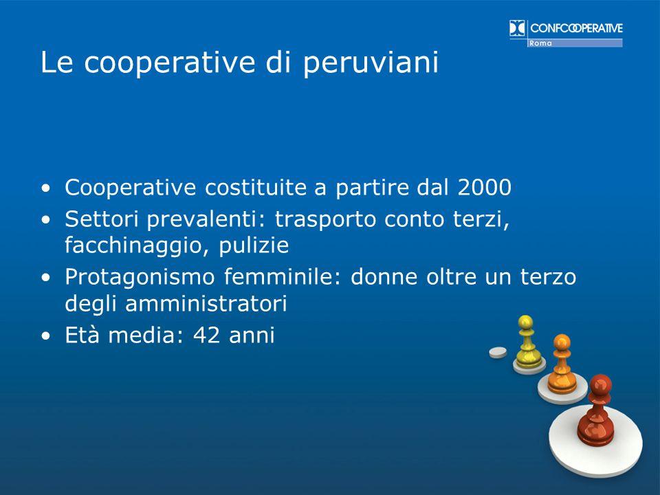 Le cooperative di peruviani Cooperative costituite a partire dal 2000 Settori prevalenti: trasporto conto terzi, facchinaggio, pulizie Protagonismo fe