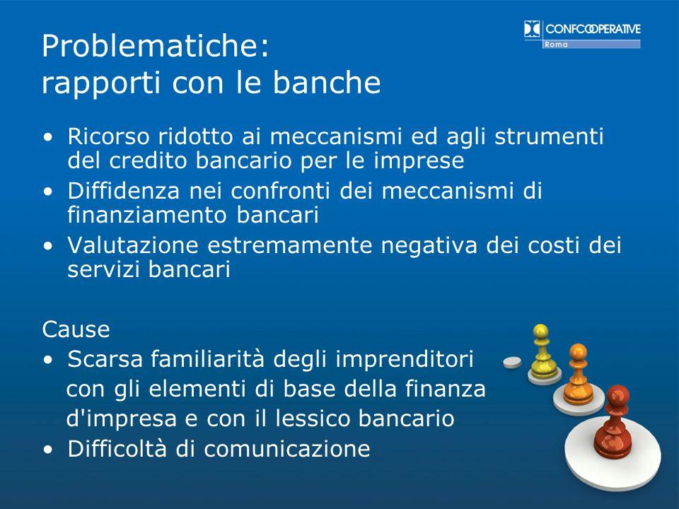 Problematiche: rapporti con le banche Ricorso ridotto ai meccanismi ed agli strumenti del credito bancario per le imprese Diffidenza nei confronti dei