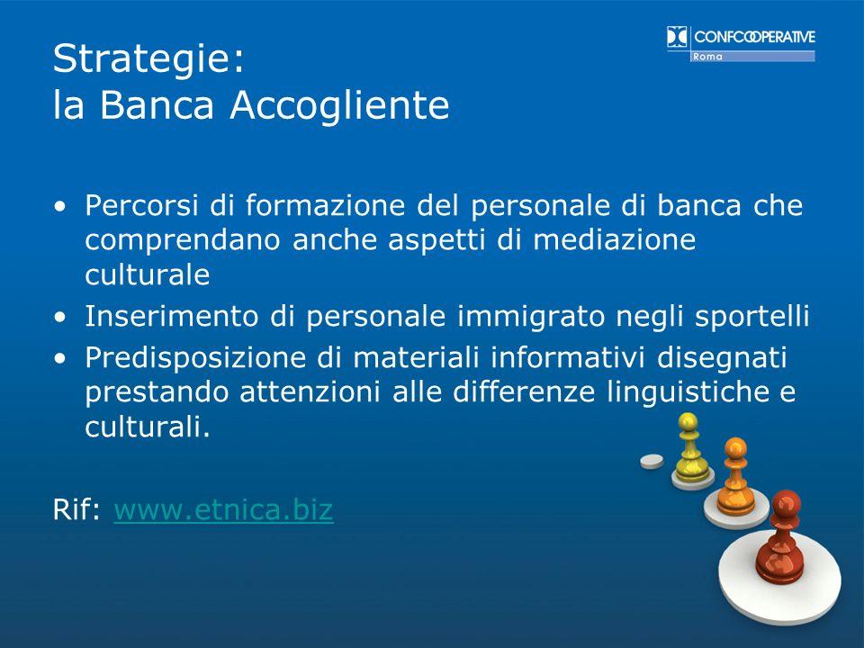 Strategie: la Banca Accogliente Percorsi di formazione del personale di banca che comprendano anche aspetti di mediazione culturale Inserimento di per