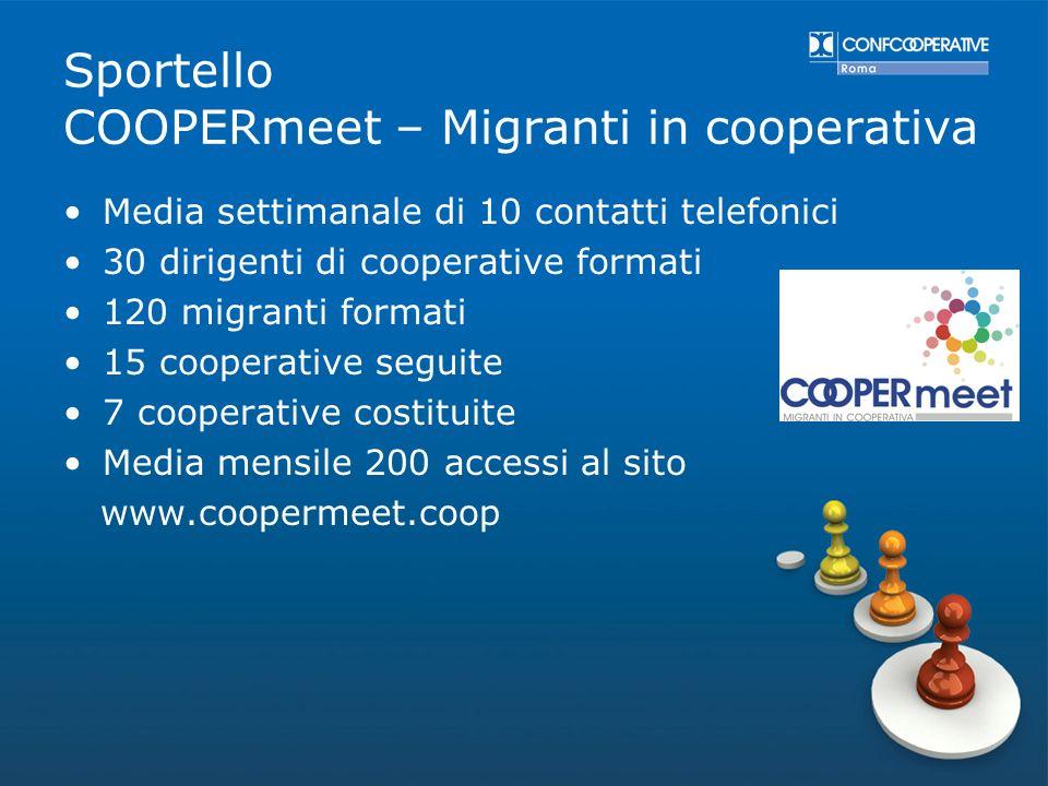 Media settimanale di 10 contatti telefonici 30 dirigenti di cooperative formati 120 migranti formati 15 cooperative seguite 7 cooperative costituite M