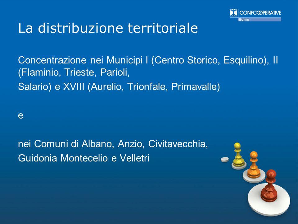 La distribuzione territoriale Concentrazione nei Municipi I (Centro Storico, Esquilino), II (Flaminio, Trieste, Parioli, Salario) e XVIII (Aurelio, Tr
