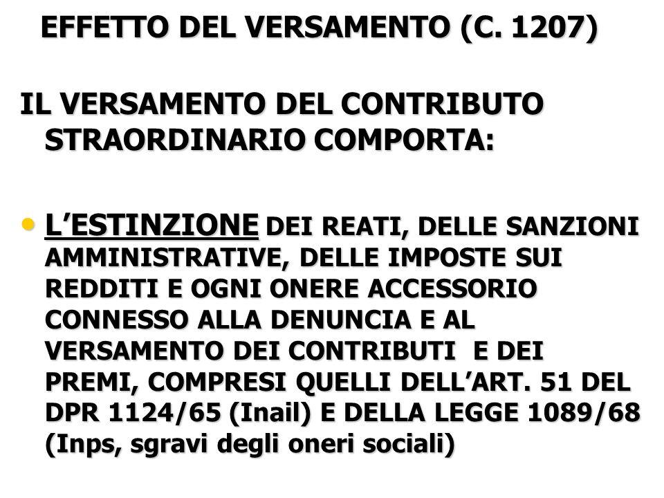 EFFETTO DEL VERSAMENTO (C.