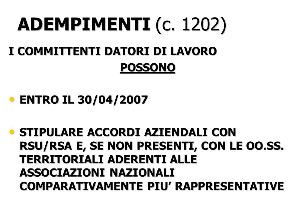 C.1203 E C. 1210 COSA DEVE PREVEDERE LACCORDO SINDACALE .