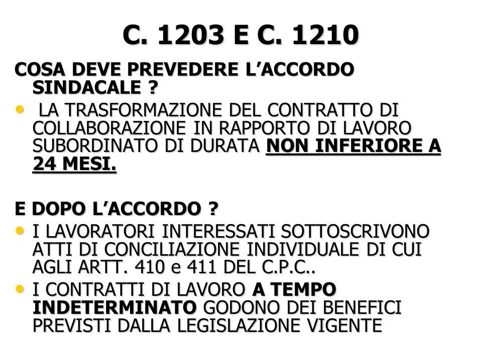 C. 1203 E C. 1210 COSA DEVE PREVEDERE LACCORDO SINDACALE .