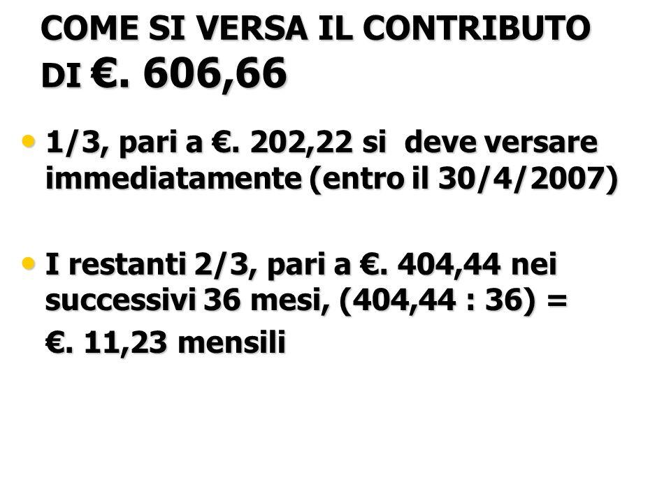 COME SI VERSA IL CONTRIBUTO DI. 606,66 1/3, pari a.