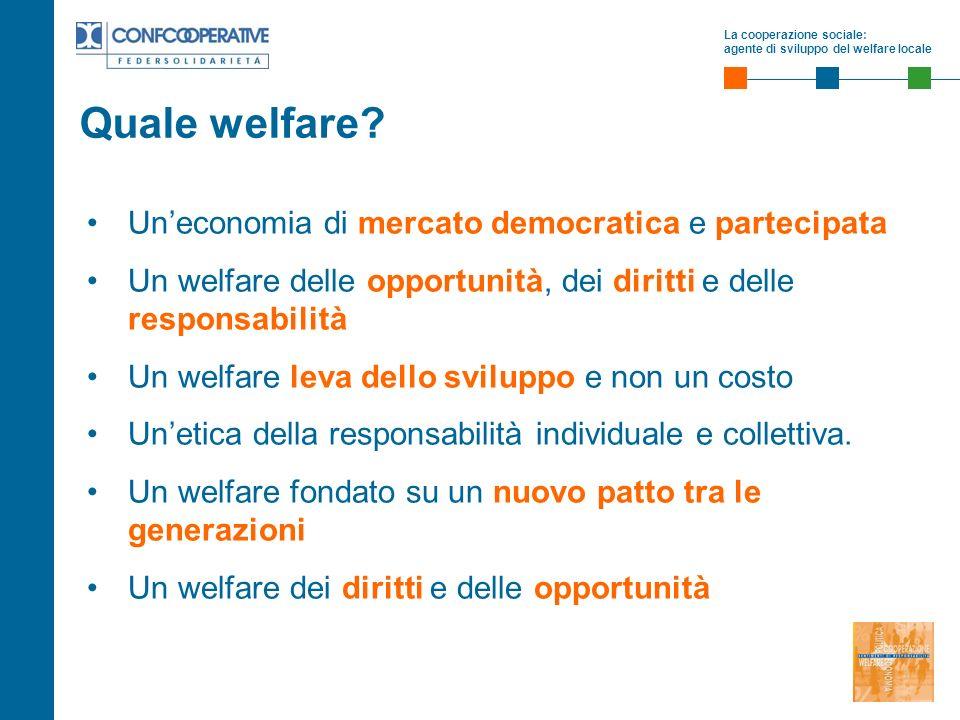La cooperazione sociale: agente di sviluppo del welfare locale Uneconomia di mercato democratica e partecipata Un welfare delle opportunità, dei diritti e delle responsabilità Un welfare leva dello sviluppo e non un costo Unetica della responsabilità individuale e collettiva.