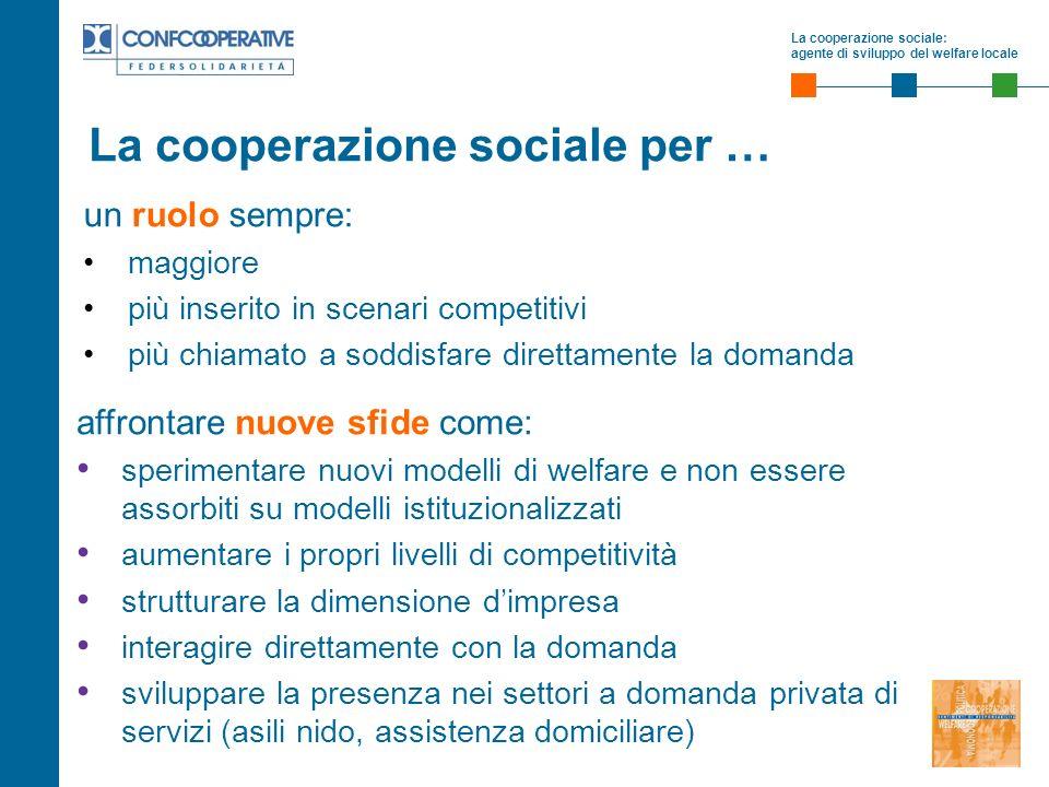 La cooperazione sociale: agente di sviluppo del welfare locale La cooperazione sociale per … un ruolo sempre: maggiore più inserito in scenari competi