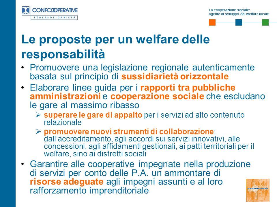 La cooperazione sociale: agente di sviluppo del welfare locale Le proposte per un welfare delle responsabilità Promuovere una legislazione regionale a
