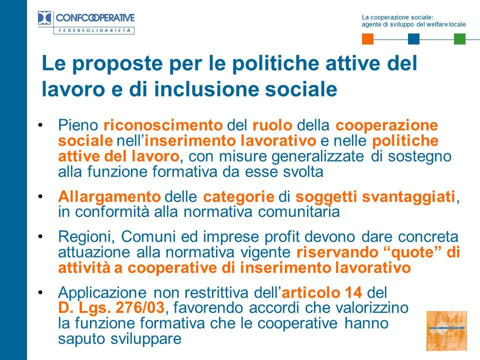 La cooperazione sociale: agente di sviluppo del welfare locale Le proposte per le politiche attive del lavoro e di inclusione sociale Pieno riconoscim