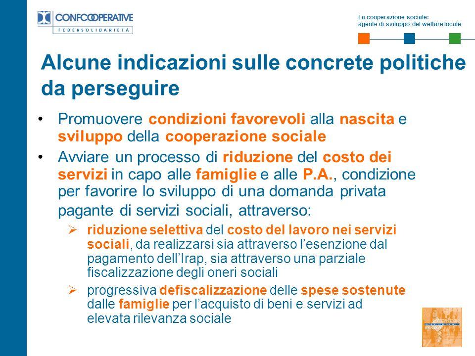 La cooperazione sociale: agente di sviluppo del welfare locale Promuovere condizioni favorevoli alla nascita e sviluppo della cooperazione sociale Avv