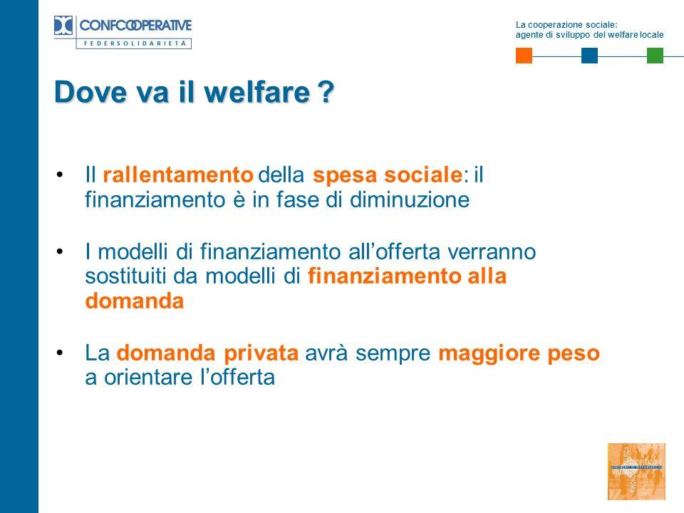 La cooperazione sociale: agente di sviluppo del welfare locale Dove va il welfare ? Il rallentamento della spesa sociale: il finanziamento è in fase d