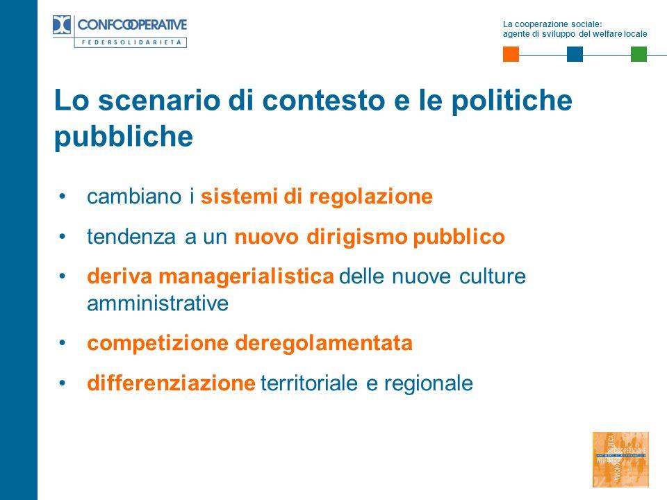 La cooperazione sociale: agente di sviluppo del welfare locale Lo scenario di contesto e le politiche pubbliche cambiano i sistemi di regolazione tend