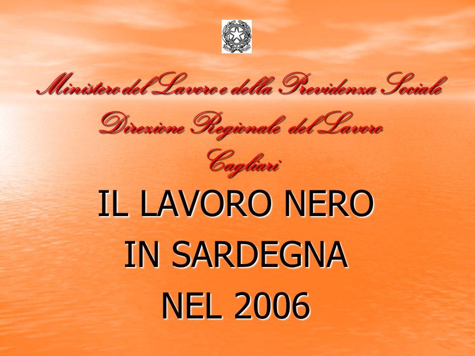 Ministero del Lavoro e della Previdenza Sociale Direzione Regionale del Lavoro Cagliari IL LAVORO NERO IN SARDEGNA NEL 2006