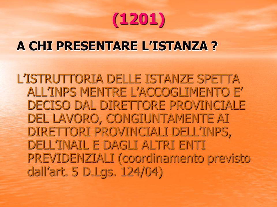(1201) A CHI PRESENTARE LISTANZA .