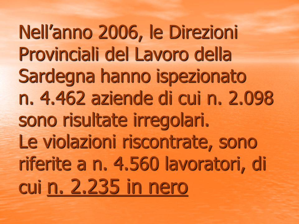 Nellanno 2006, le Direzioni Provinciali del Lavoro della Sardegna hanno ispezionato n.
