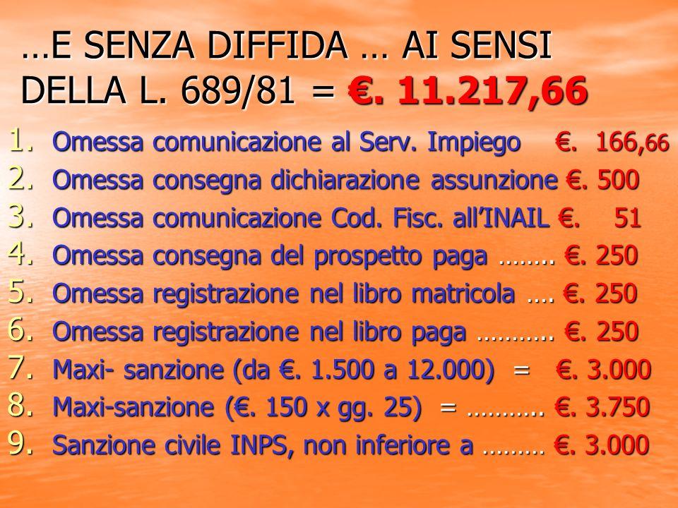 …E SENZA DIFFIDA … AI SENSI DELLA L. 689/81 =. 11.217,66 1.
