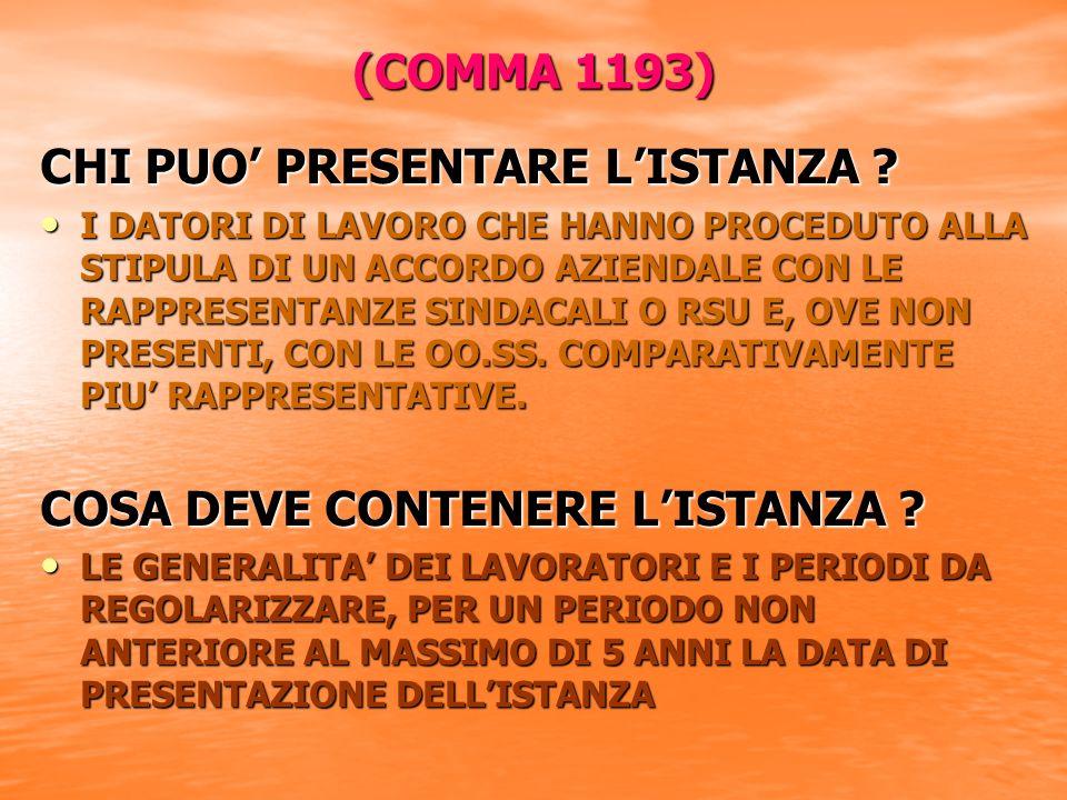 (COMMA 1193) CHI PUO PRESENTARE LISTANZA .