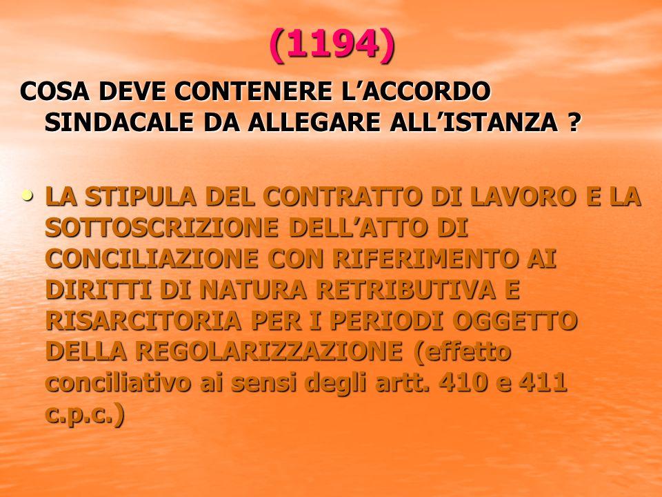 (1194) COSA DEVE CONTENERE LACCORDO SINDACALE DA ALLEGARE ALLISTANZA .