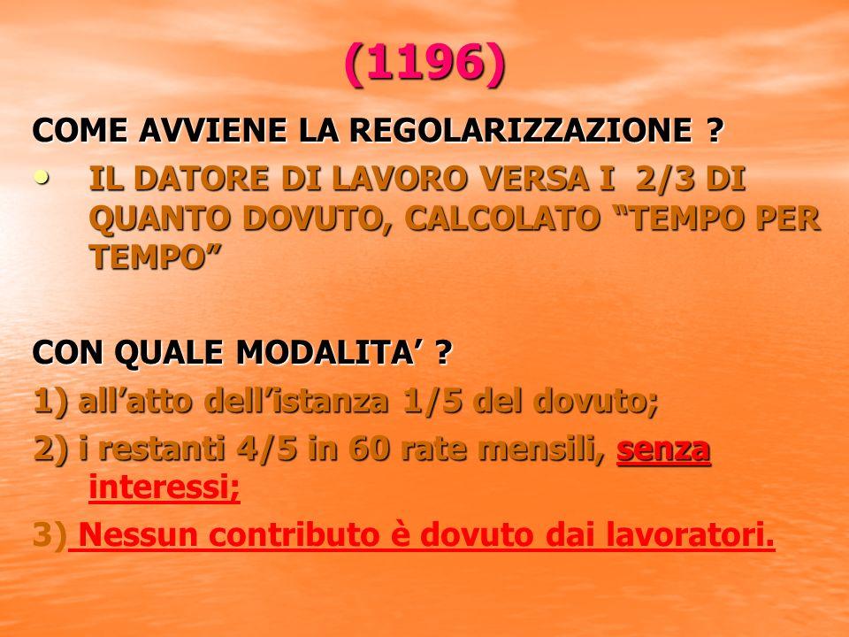 (1196) COME AVVIENE LA REGOLARIZZAZIONE .