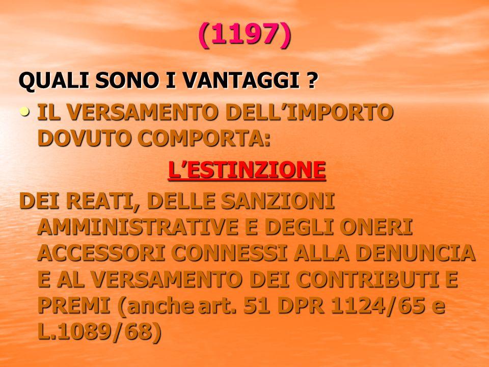 (1197) QUALI SONO I VANTAGGI .