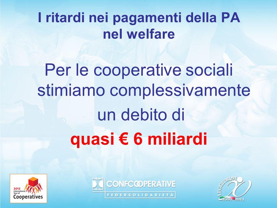I ritardi nei pagamenti della PA nel welfare Per le cooperative sociali stimiamo complessivamente un debito di quasi 6 miliardi