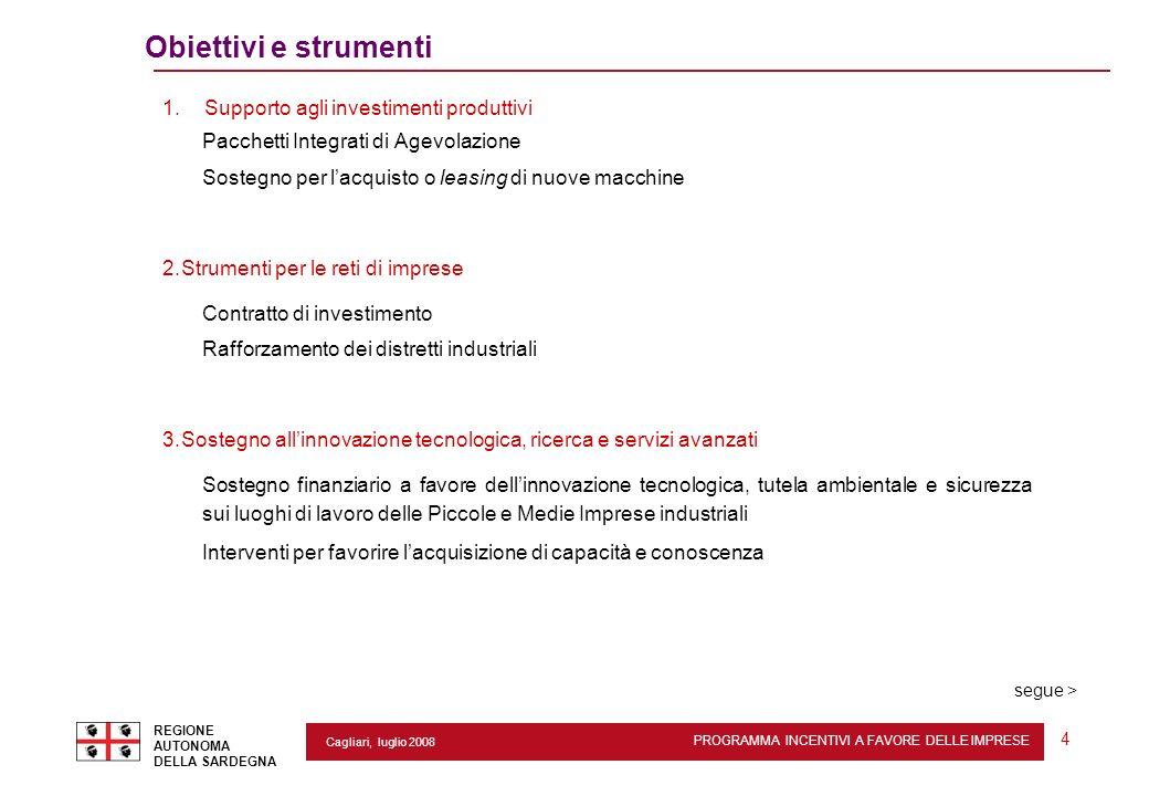 PROGRAMMA INCENTIVI A FAVORE DELLE IMPRESE REGIONE AUTONOMA DELLA SARDEGNA 4 Cagliari, luglio 2008 Obiettivi e strumenti 1. Supporto agli investimenti